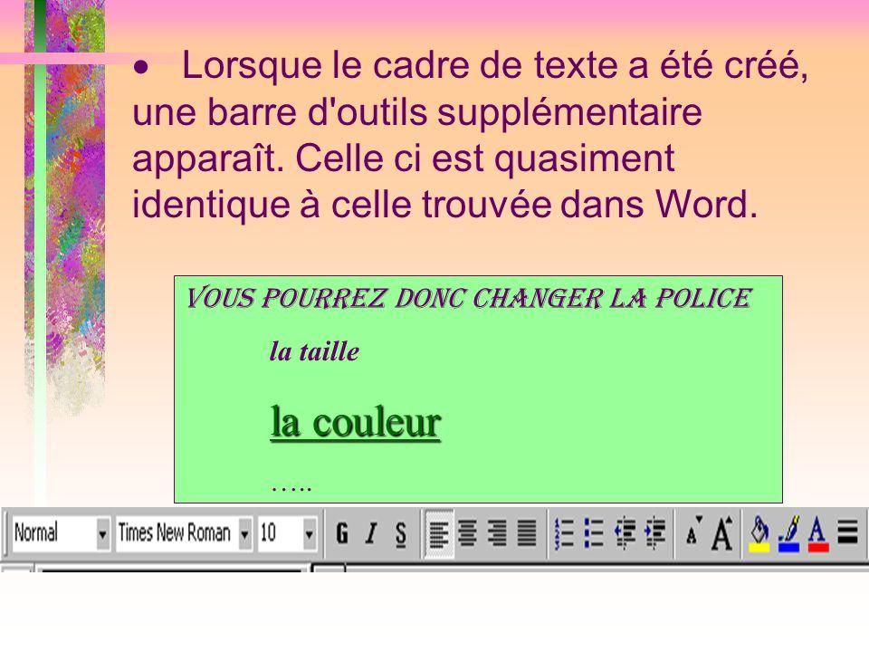 Lorsque le cadre de texte a été créé, une barre d outils supplémentaire apparaît. Celle ci est quasiment identique à celle trouvée dans Word.