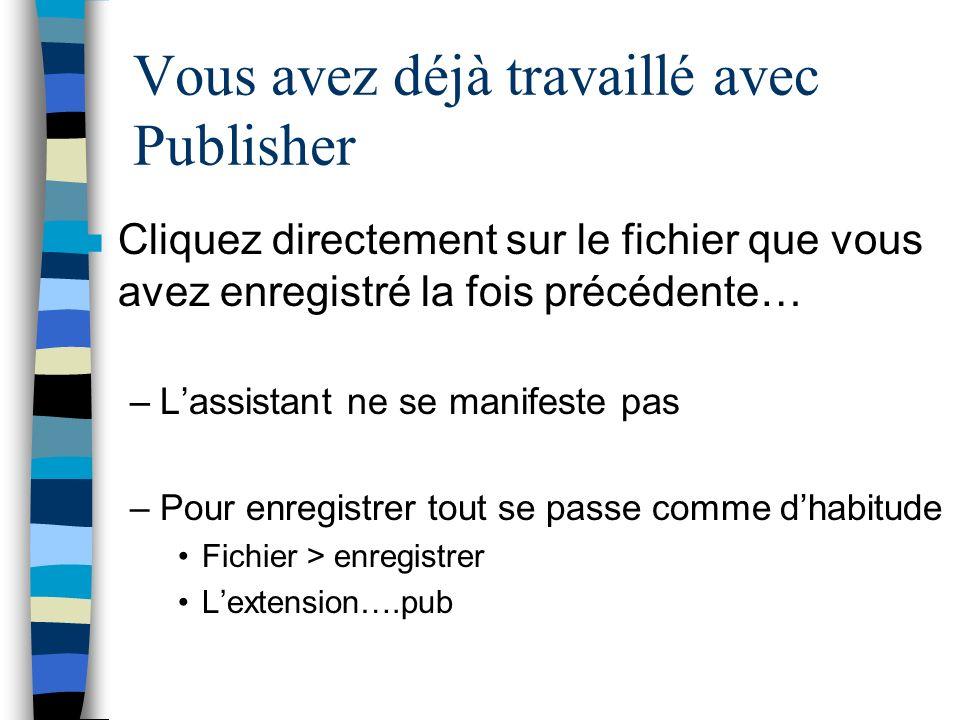 Vous avez déjà travaillé avec Publisher