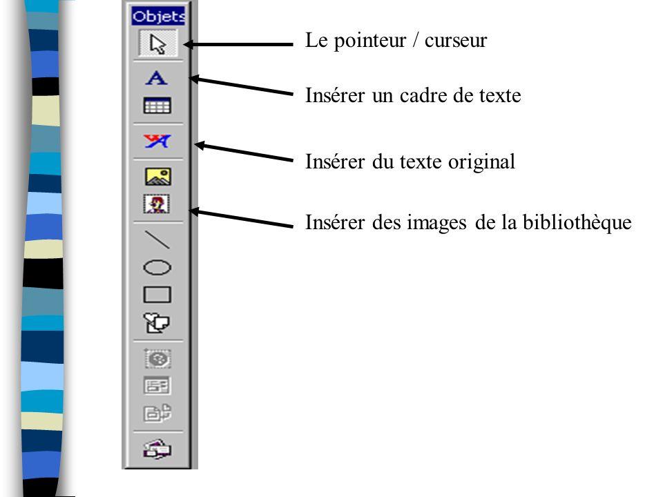 Le pointeur / curseur Insérer un cadre de texte. Insérer du texte original.