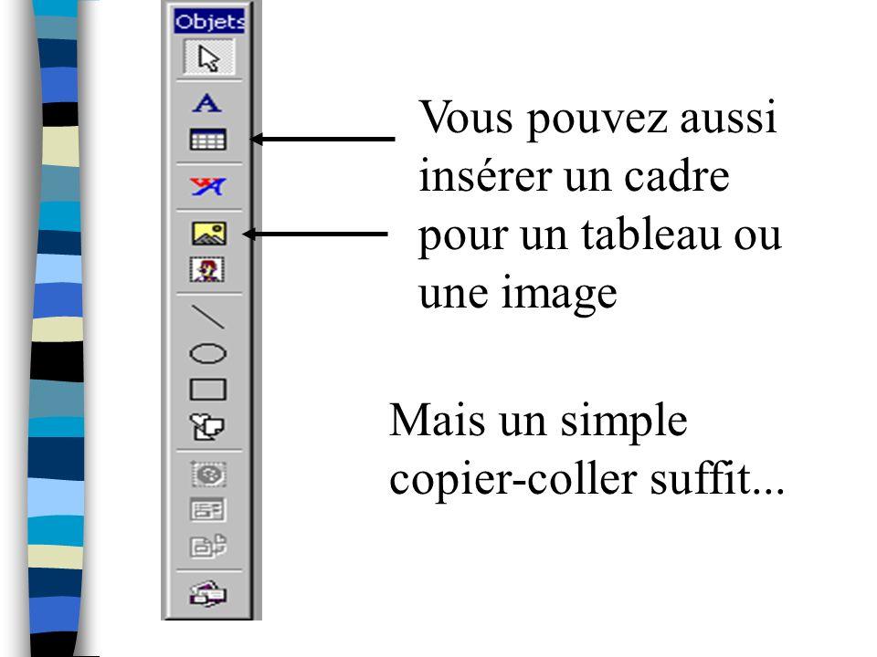 Vous pouvez aussi insérer un cadre pour un tableau ou une image