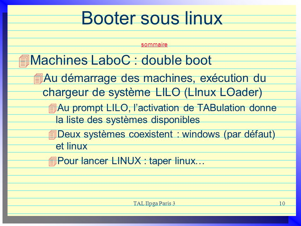 Booter sous linux sommaire