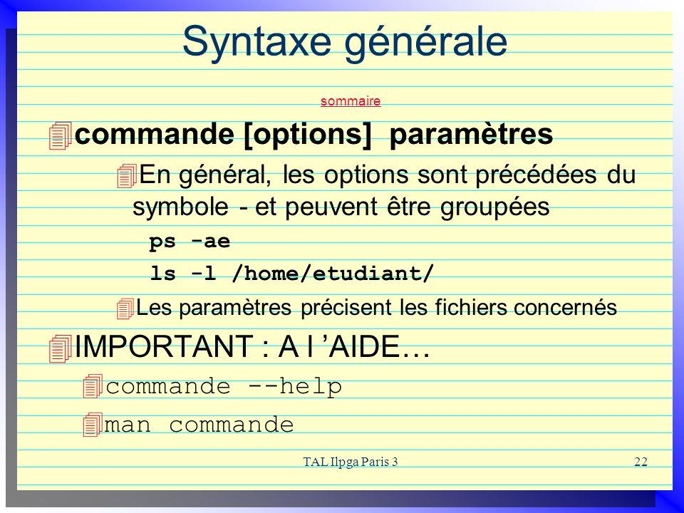 Syntaxe générale sommaire