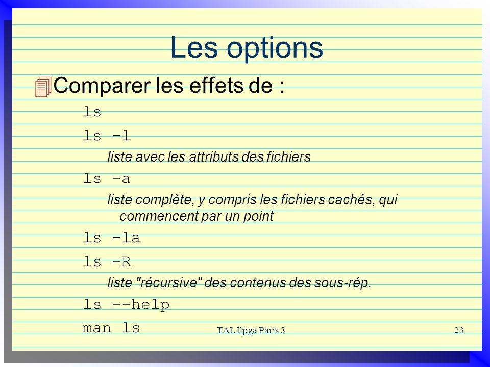 Les options Comparer les effets de : ls ls -l ls -a ls -la ls -R