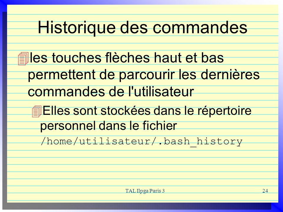 Historique des commandes