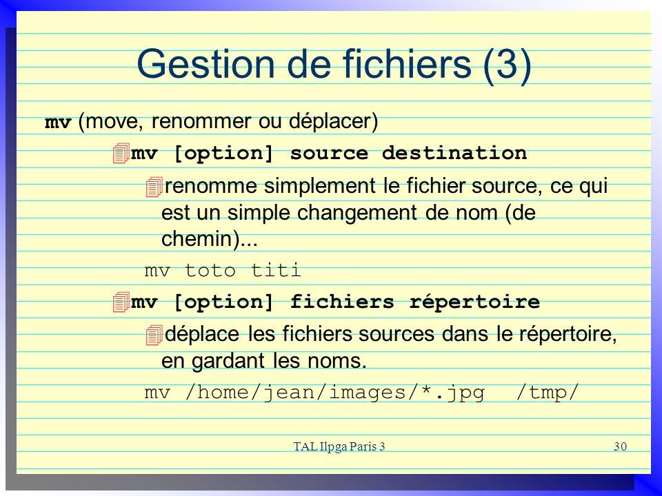 Gestion de fichiers (3) mv (move, renommer ou déplacer)