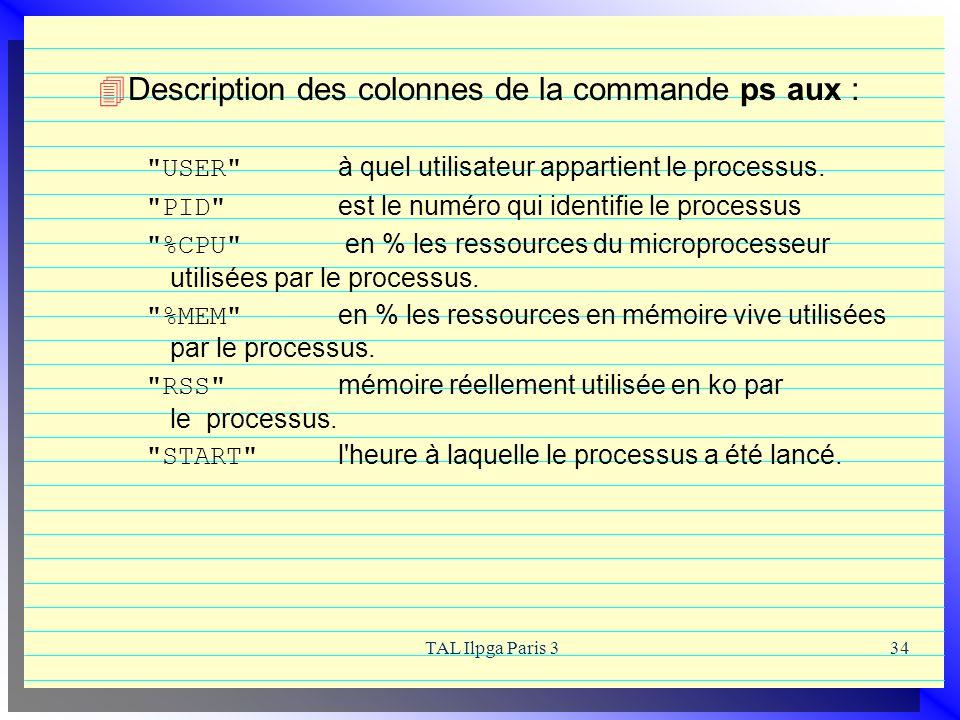 Description des colonnes de la commande ps aux :