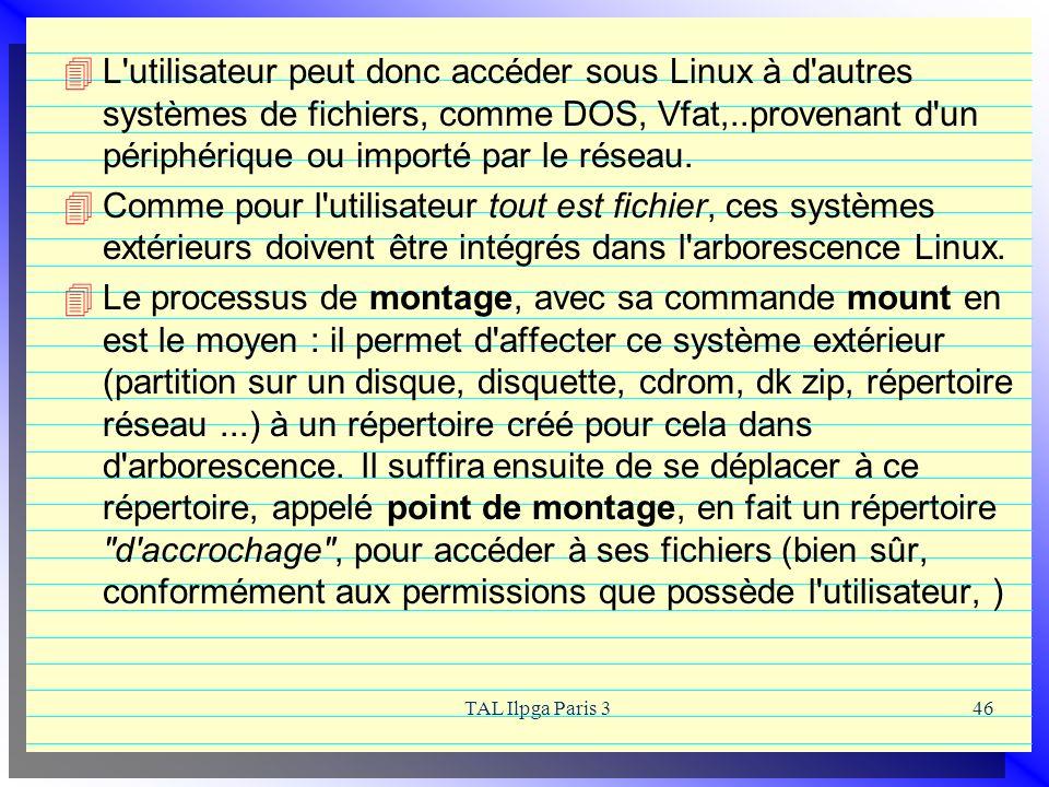 L utilisateur peut donc accéder sous Linux à d autres systèmes de fichiers, comme DOS, Vfat,..provenant d un périphérique ou importé par le réseau.