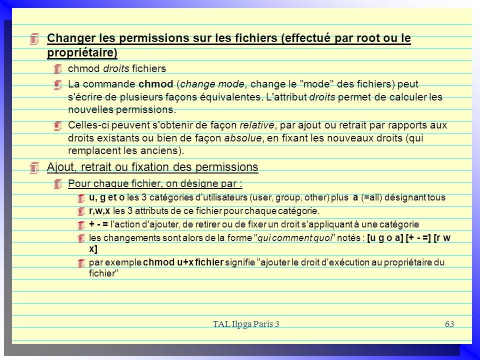 Ajout, retrait ou fixation des permissions