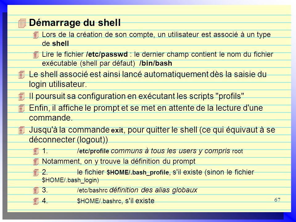 Démarrage du shell Lors de la création de son compte, un utilisateur est associé à un type de shell.