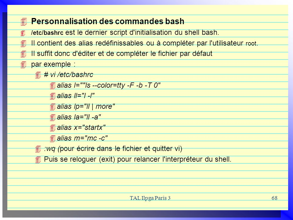 Personnalisation des commandes bash