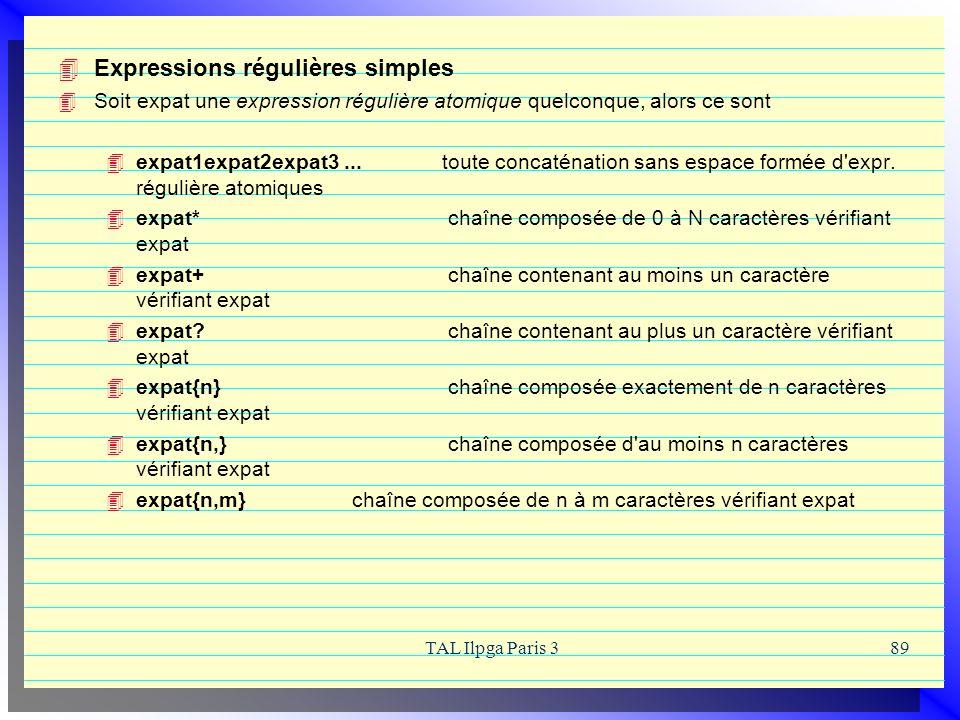 Expressions régulières simples