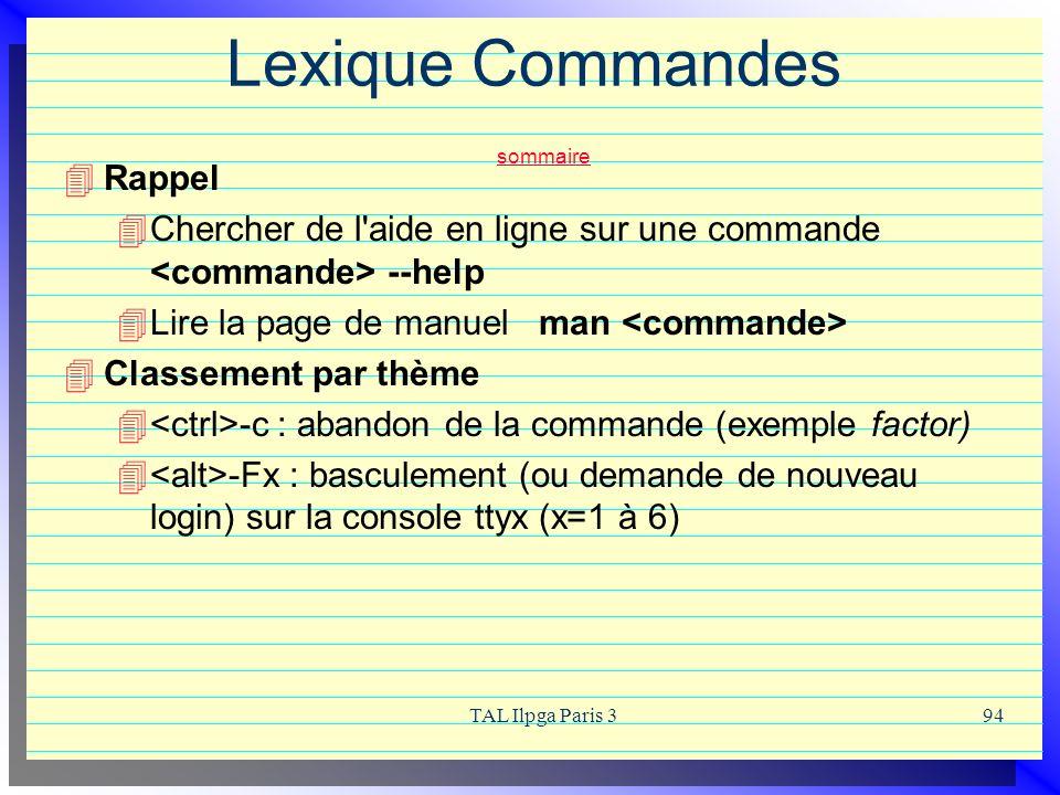 Lexique Commandes sommaire