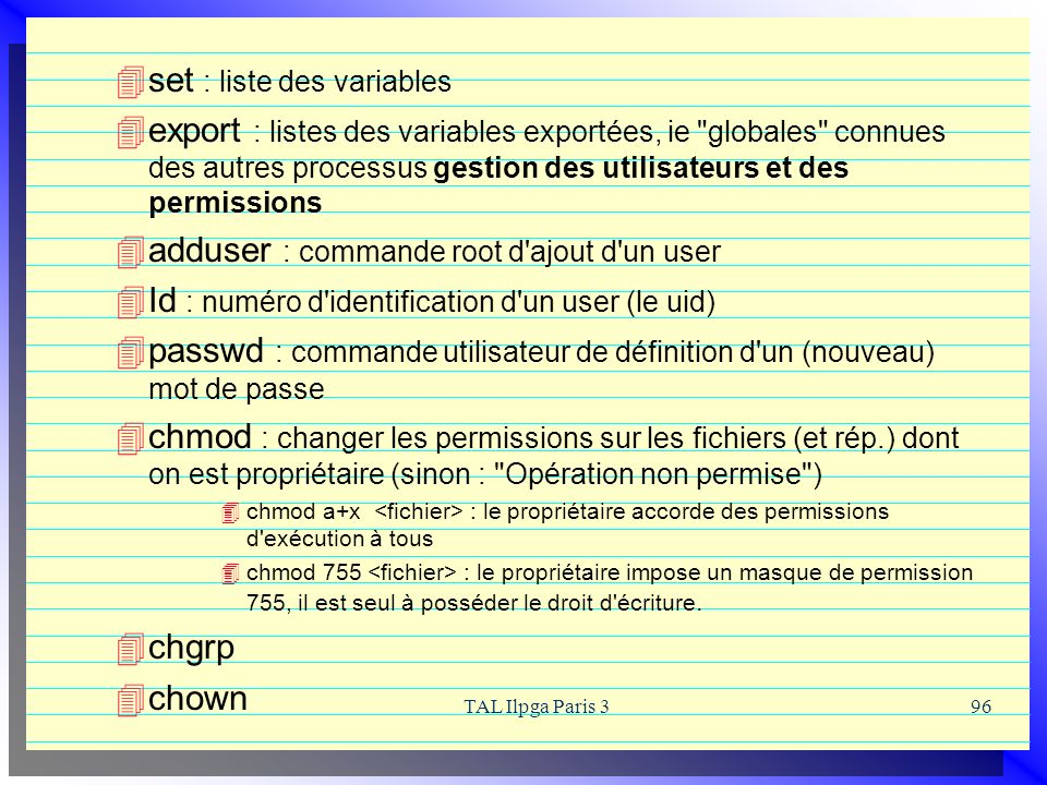 set : liste des variables