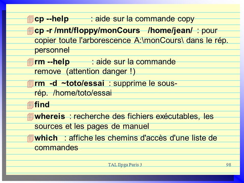 cp --help : aide sur la commande copy