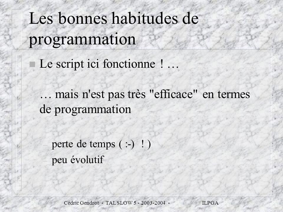 Les bonnes habitudes de programmation