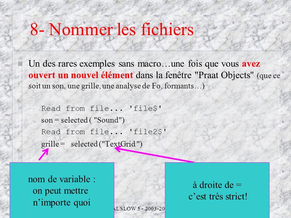 8- Nommer les fichiers