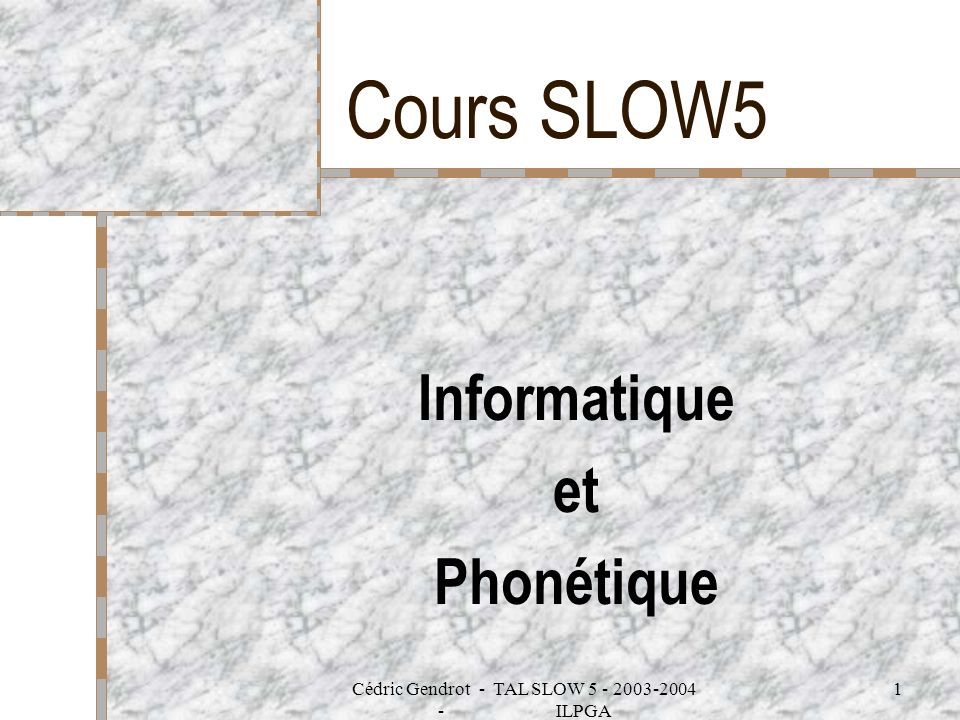 Informatique et Phonétique