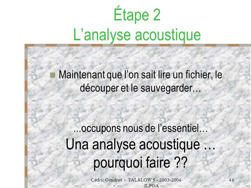 Étape 2 L'analyse acoustique
