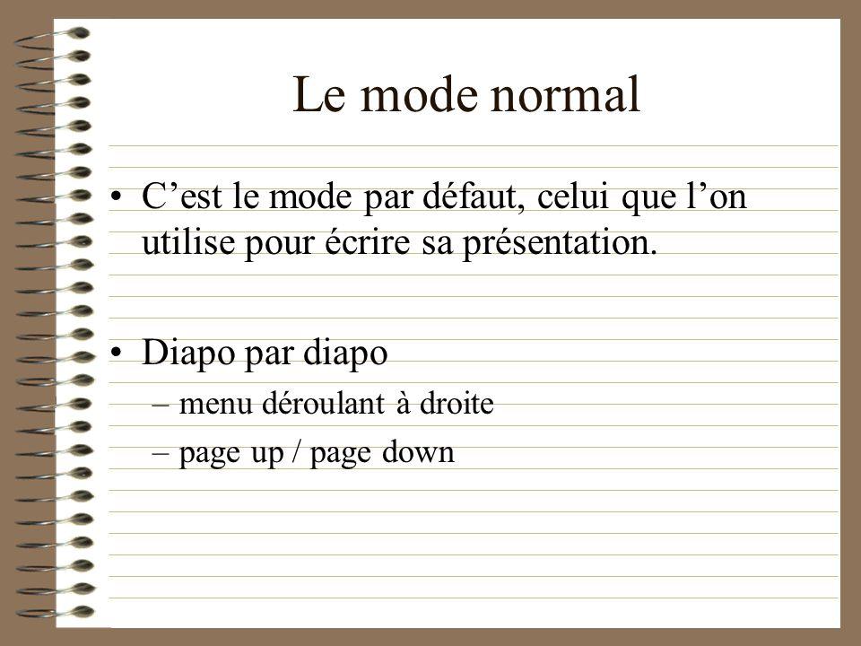 Le mode normalC'est le mode par défaut, celui que l'on utilise pour écrire sa présentation. Diapo par diapo.
