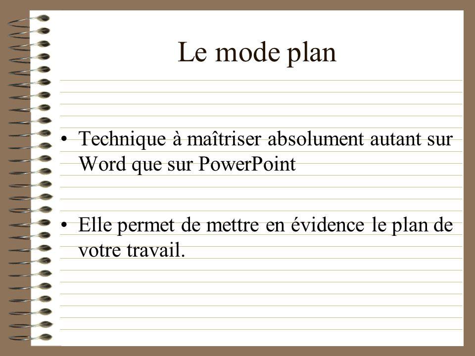 Le mode plan Technique à maîtriser absolument autant sur Word que sur PowerPoint.