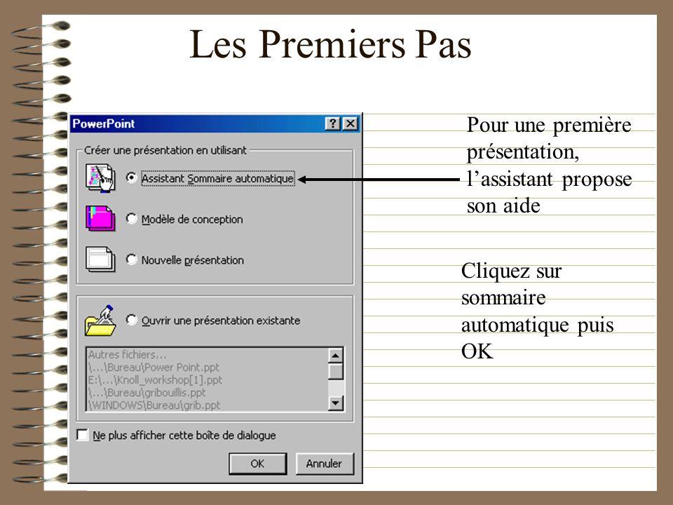 Les Premiers PasPour une première présentation, l'assistant propose son aide.