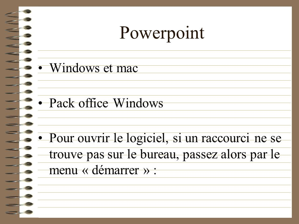 Powerpoint Windows et mac Pack office Windows