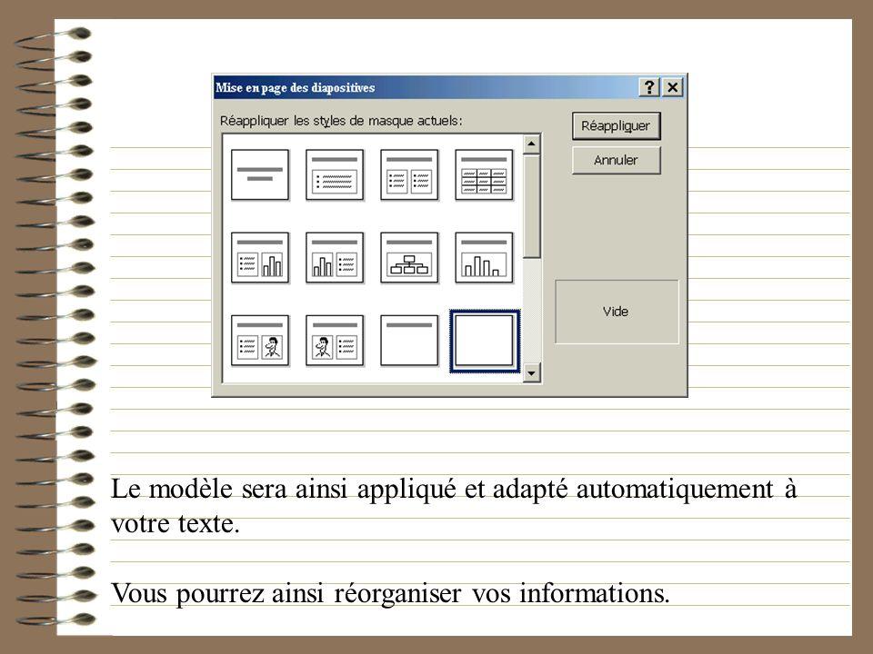 Le modèle sera ainsi appliqué et adapté automatiquement à votre texte