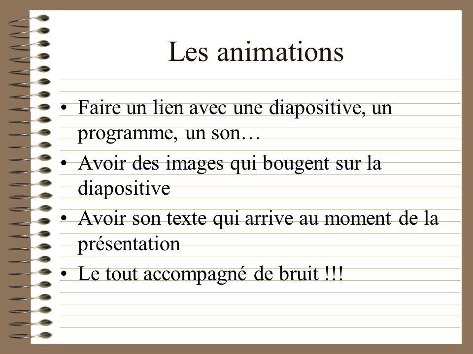 Les animations Faire un lien avec une diapositive, un programme, un son… Avoir des images qui bougent sur la diapositive.