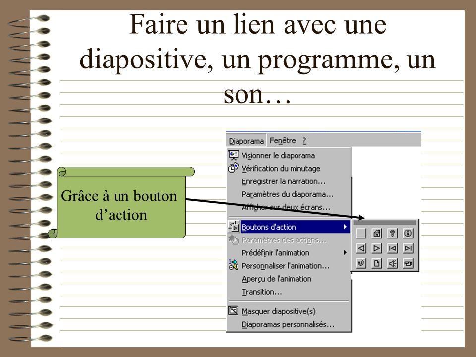 Faire un lien avec une diapositive, un programme, un son…