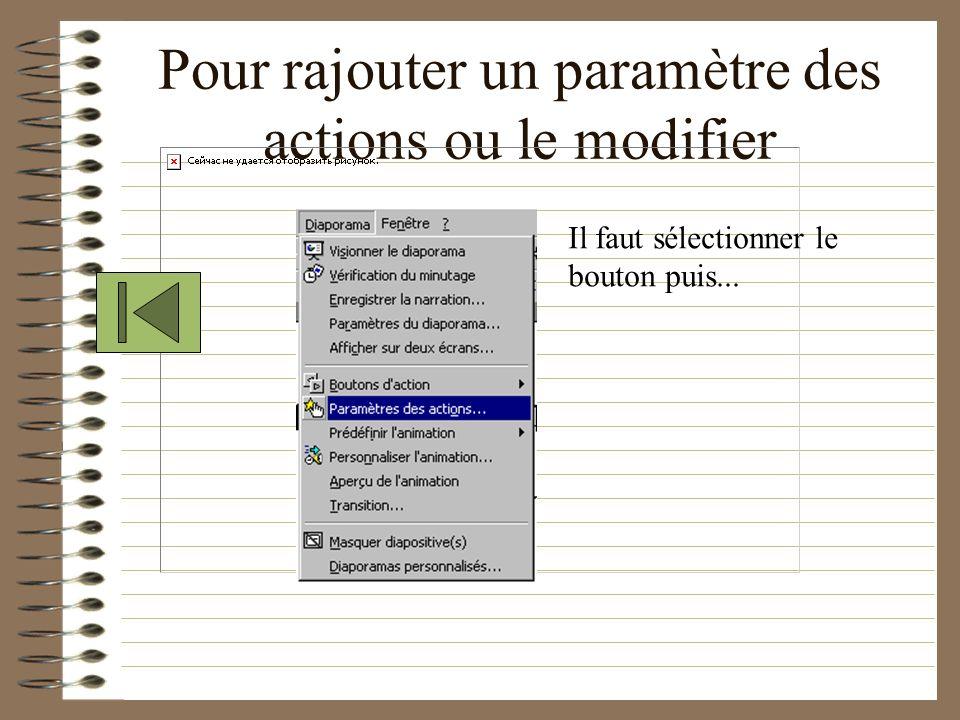 Pour rajouter un paramètre des actions ou le modifier