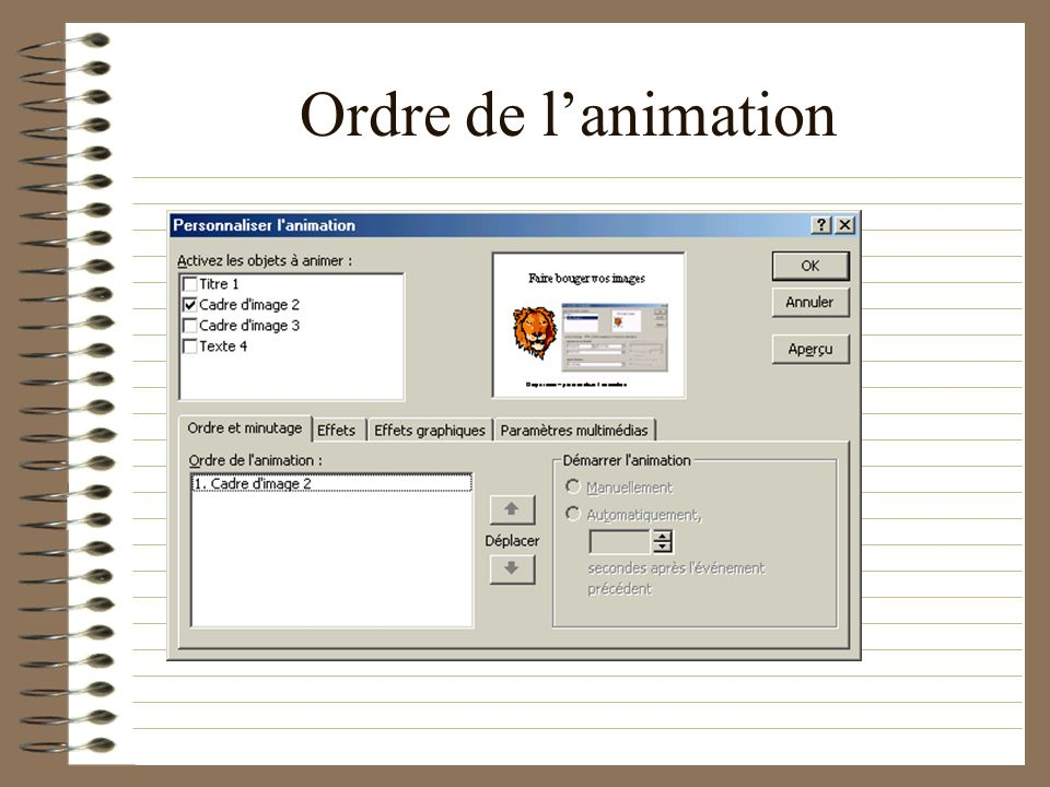 Ordre de l'animation