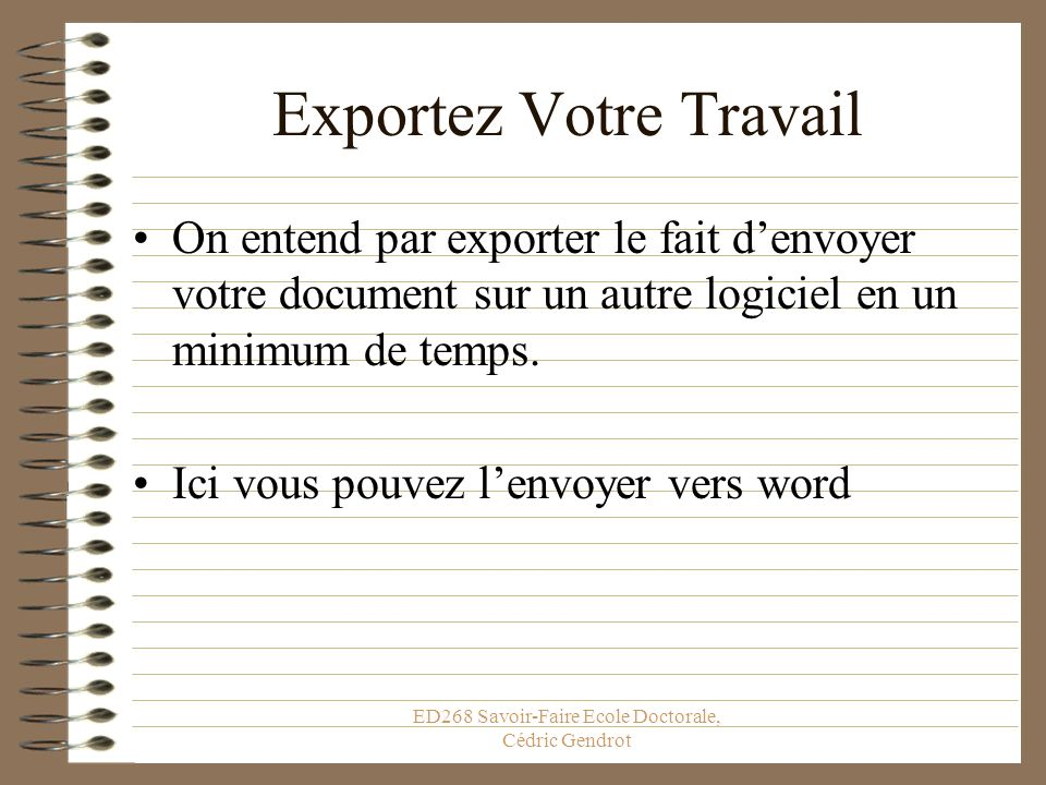 Exportez Votre Travail
