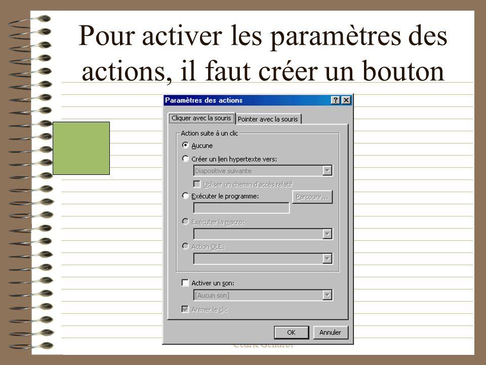 Pour activer les paramètres des actions, il faut créer un bouton