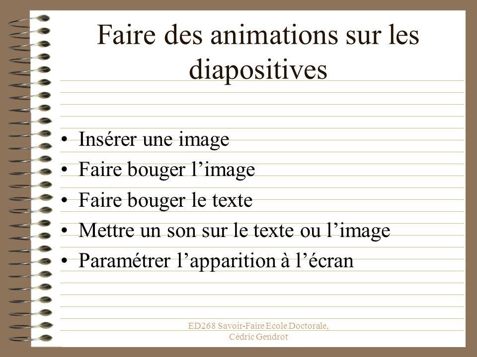 Faire des animations sur les diapositives
