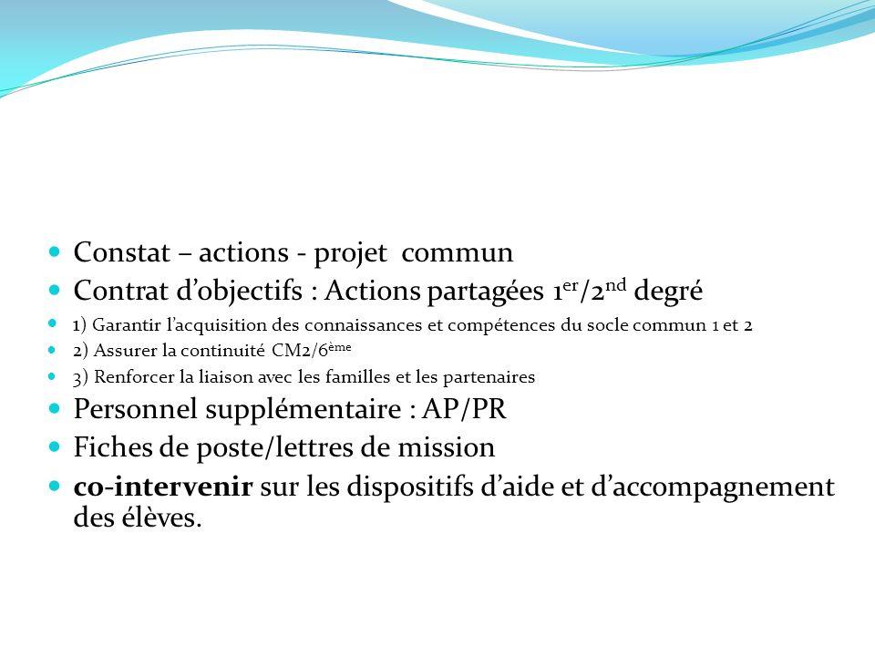 Constat – actions - projet commun