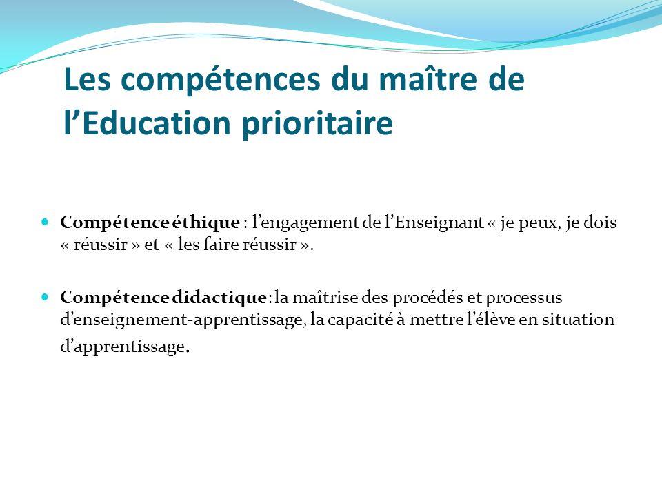 Les compétences du maître de l'Education prioritaire