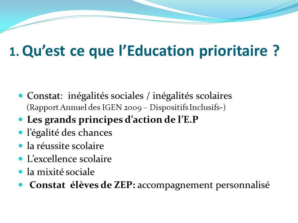 1. Qu'est ce que l'Education prioritaire