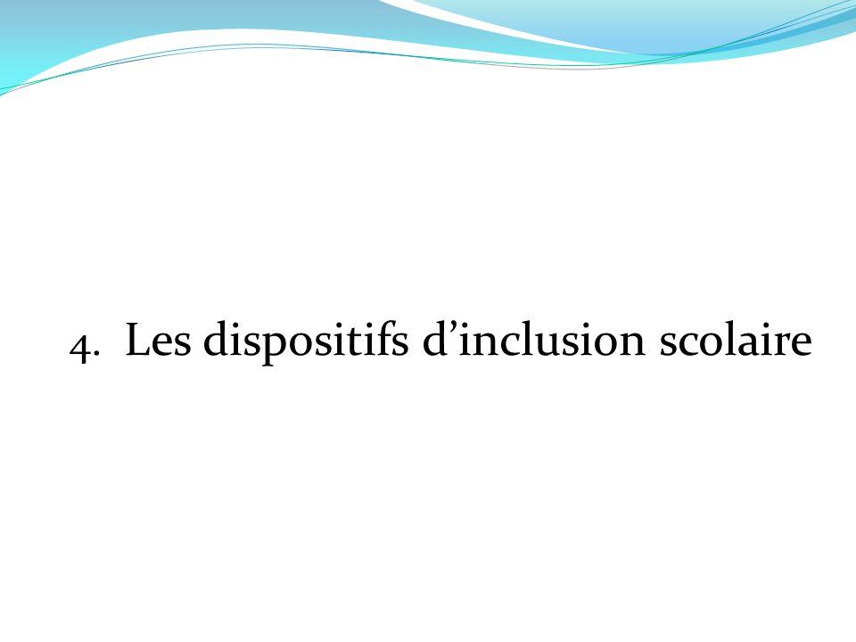 4. Les dispositifs d'inclusion scolaire