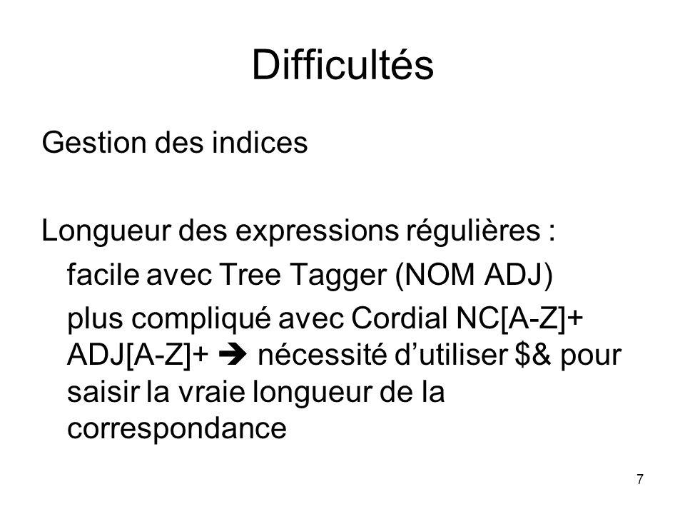 Difficultés Gestion des indices Longueur des expressions régulières :