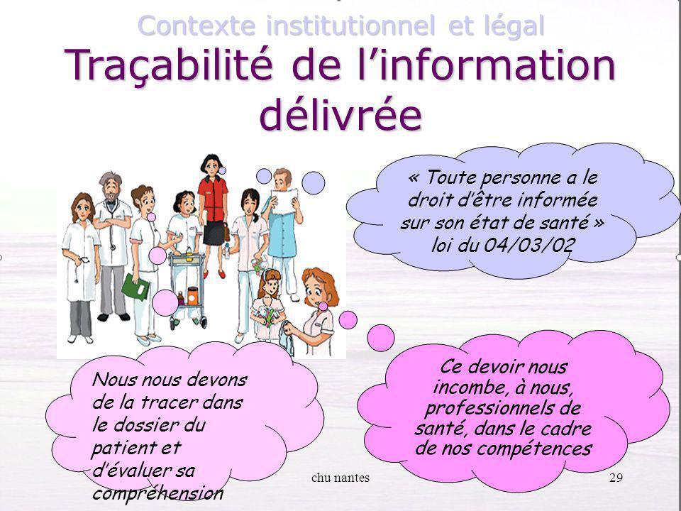 Traçabilité de l'information délivrée