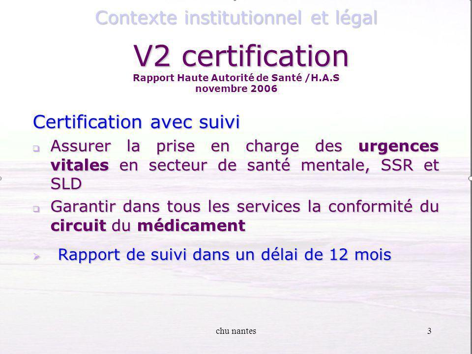 V2 certification Rapport Haute Autorité de Santé /H.A.S novembre 2006