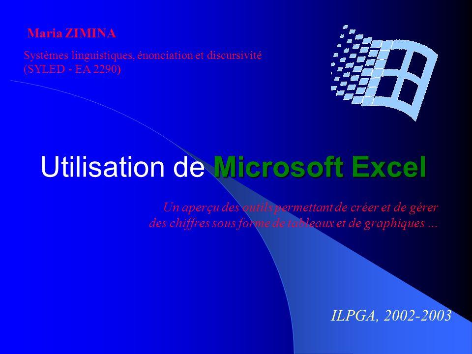 Utilisation de Microsoft Excel