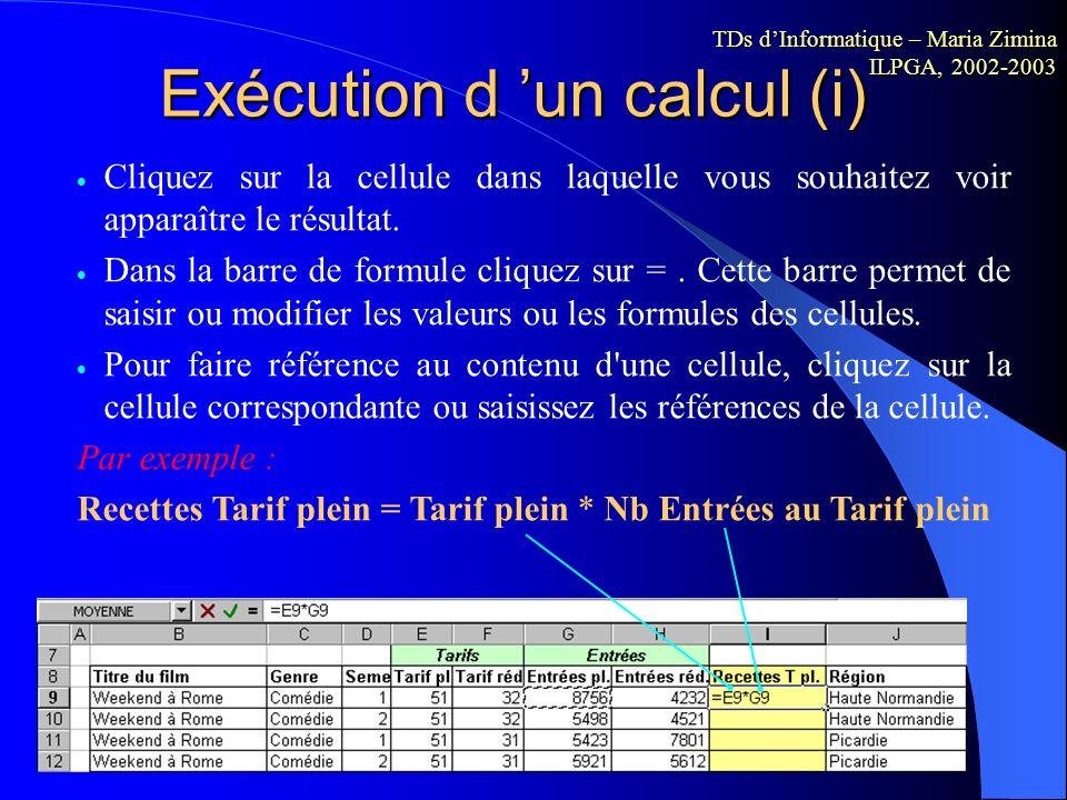 Exécution d 'un calcul (i)