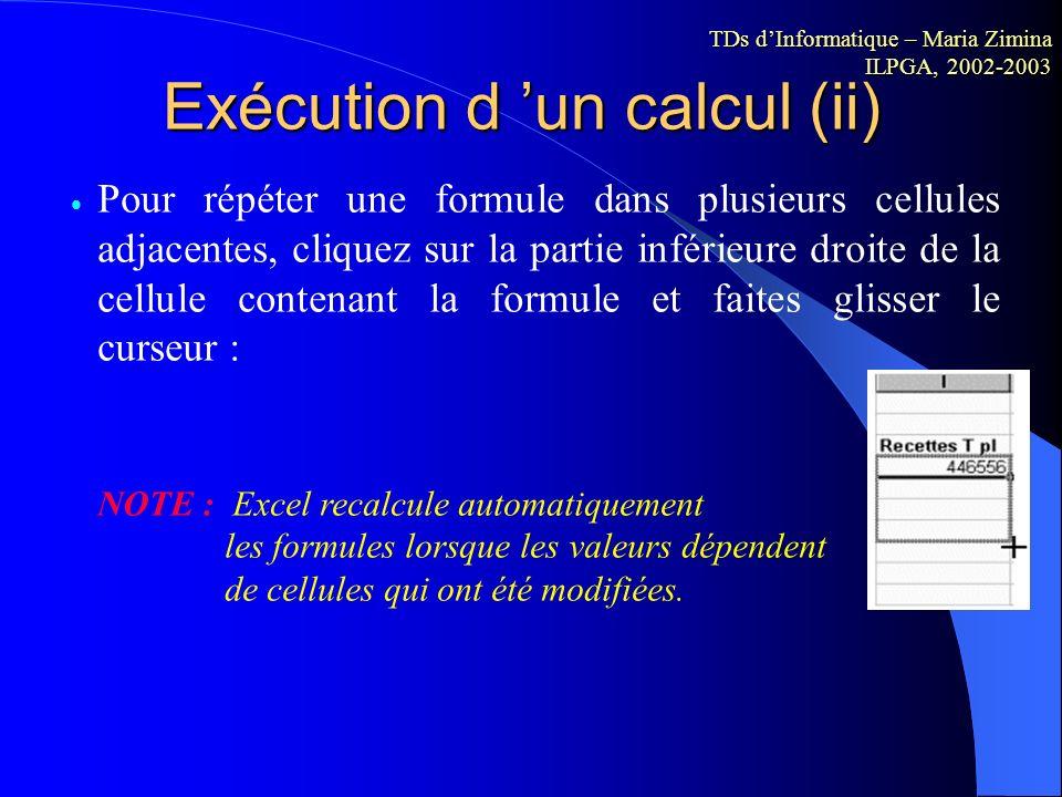 Exécution d 'un calcul (ii)