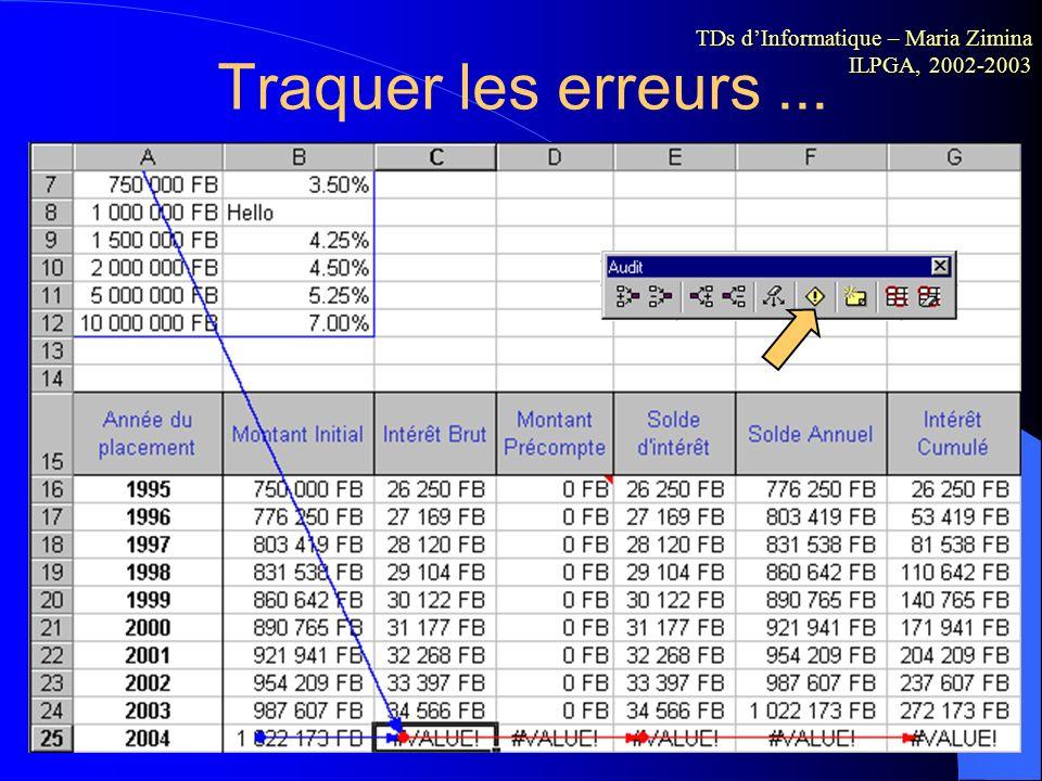 Traquer les erreurs ... TDs d'Informatique – Maria Zimina ILPGA, 2002-2003.