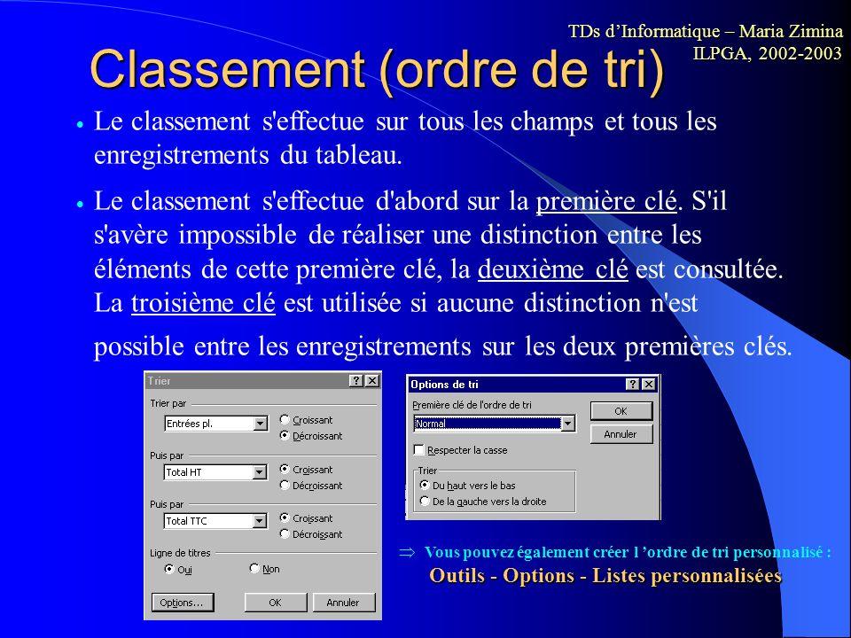 Classement (ordre de tri)