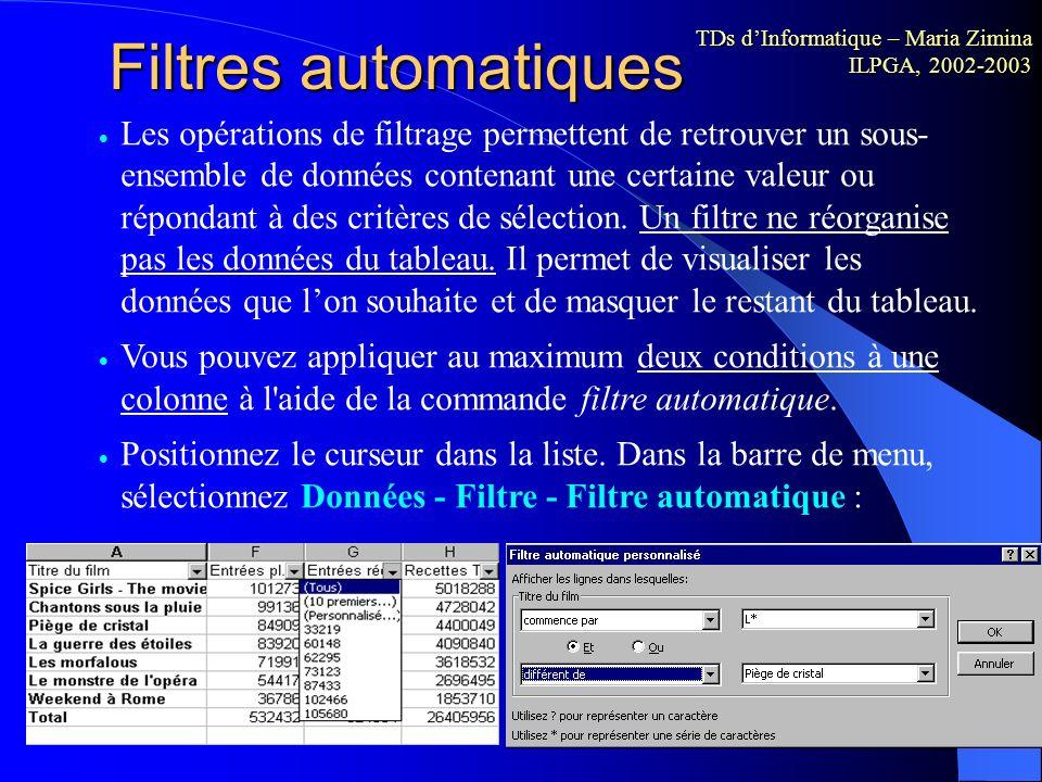 Filtres automatiques TDs d'Informatique – Maria Zimina ILPGA, 2002-2003.