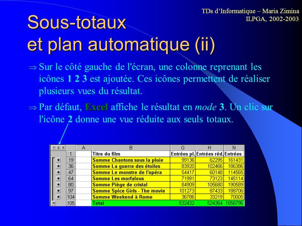 Sous-totaux et plan automatique (ii)