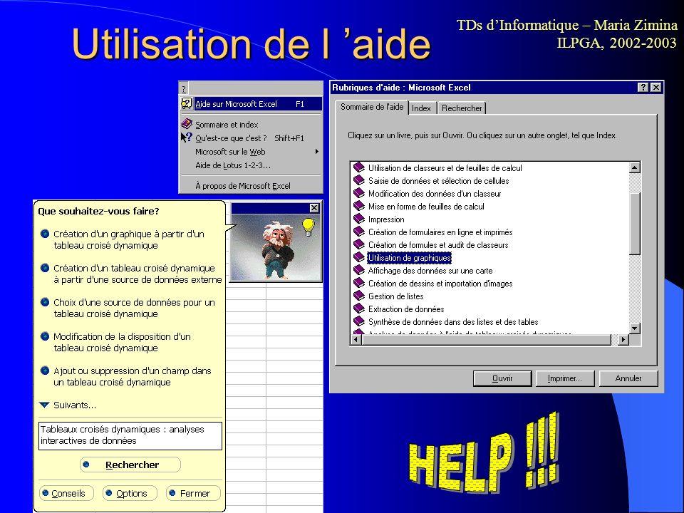 Utilisation de l 'aide HELP !!!