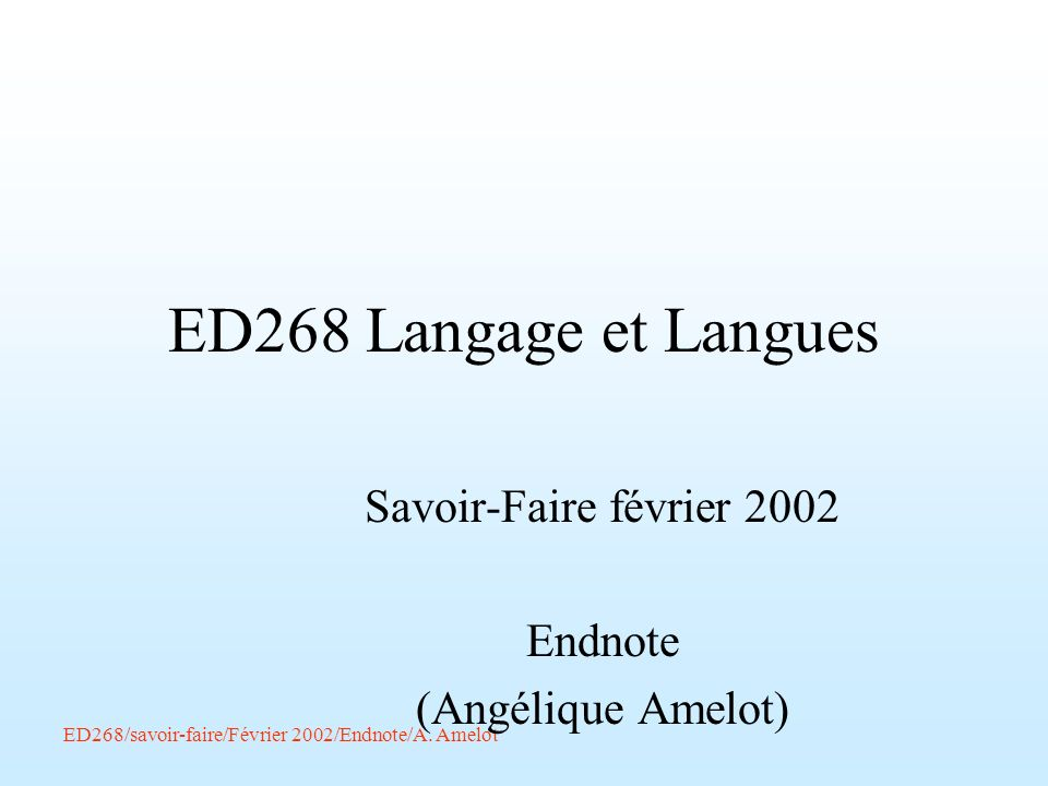 Savoir-Faire février 2002 Endnote (Angélique Amelot)